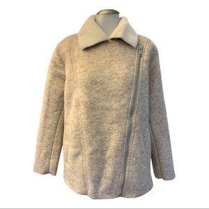 NWT H&M Sherpa Lined Wool Diagonal Zip Coat (10)